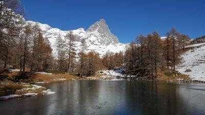 Lago Blu e Cervino in inverno
