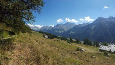 Veduta del Monte Rosa dal Ru Courtaud